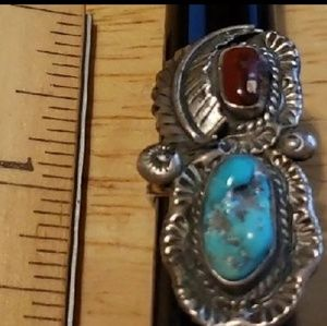 Turquoise Sterling Silver Coral Vintage Ring S 5